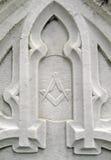 symbole maçonnique de détail de pierre tombale de 19ème siècle Image libre de droits