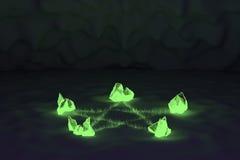 Symbole magique rougeoyant de pentagramme de cristaux Photographie stock