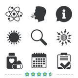 symbole medycznych Atom, magnifier szkło, lista kontrolna Obraz Royalty Free