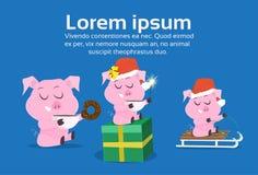 Symbole mignon de porcs du concept différent chinois de célébration de vacances de Joyeux Noël de 2019 poses de nouvelle année à  illustration stock