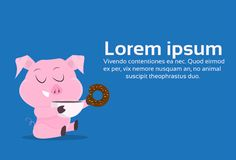 Symbole mignon de porcs du concept différent chinois de célébration de vacances de Joyeux Noël de 2019 poses de nouvelle année à  illustration libre de droits