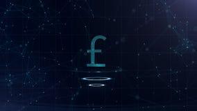 Symbole monétaire bleu de l'espace Livre sterling de la Grande-Bretagne Devise internationale illustration stock