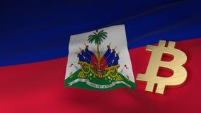 Symbole monétaire de Bitcoin sur le drapeau du Haïti photos libres de droits
