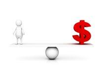 symbole monétaire de l'homme 3d et du dollar sur l'échelle d'équilibre illustration stock