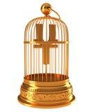 Symbole monétaire de Yens dans le birdcage d'or photographie stock