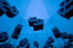 Symbole monétaire du dollar avec beaucoup d'images reflétantes illustration stock