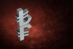 Symbole monétaire ou signe turc avec la réflexion de miroir sur Dusty Background rouge images libres de droits