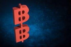 Symbole monétaire rouge de Bitcoin avec la réflexion de miroir sur Dusty Background bleu illustration libre de droits