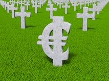 Symbole monétaire sous forme de pierres tombales Images stock
