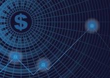 Symbole monétaire sur le bleu pour le fond financier d'affaires Images stock