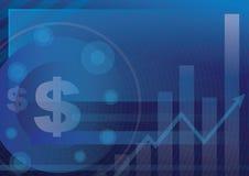 Symbole monétaire sur le bleu pour le fond financier d'affaires Photos libres de droits
