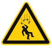 Symbole monétaire en baisse de danger d'avertissement de récession Image stock