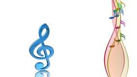 Symbole musical, clef, fond de chanson de ressort, animation illustration stock
