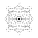 Symbole mystique abstrait de la géométrie Dirigez le signe d'alchimie, occulte et philosophique linéaire Images libres de droits