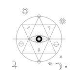 Symbole mystique abstrait de la géométrie Dirigez le signe d'alchimie, occulte et philosophique linéaire Photos libres de droits