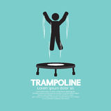 Symbole noir de Person Jumping On Trampoline Images libres de droits