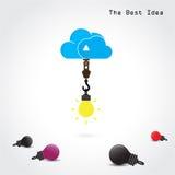 Symbole plat de nuage et concept créatif d'ampoule illustration de vecteur