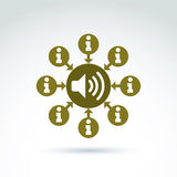 Symbole rond de consultation, icône de centre d'appels, signe de l'information P Images libres de droits