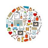 Symbole rond médical avec des icônes de croquis Photo libre de droits