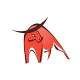 Symbole rouge élégant de logo de taureau Images stock