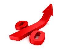Symbole rouge brillant de pour cent avec grandir la flèche illustration libre de droits