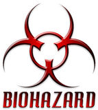 Symbole rouge conique de Biohazard Photographie stock