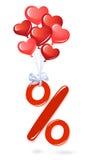 Symbole rouge de pourcentage avec des ballons de coeur Images stock