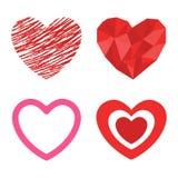 Symbole rouge de Saint Valentin d'amour d'icône de vecteur de coeur de style de Differents et épouser romantique de conception be Photographie stock libre de droits