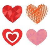 Symbole rouge de Saint Valentin d'amour d'icône de vecteur de coeur de style de Differents et épouser romantique de conception be Images stock