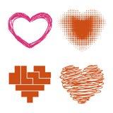 Symbole rouge de Saint Valentin d'amour d'icône de vecteur de coeur de style de Differents et épouser romantique de conception be Images libres de droits