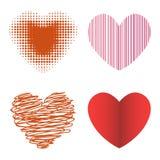 Symbole rouge de Saint Valentin d'amour d'icône de vecteur de coeur de style de Differents et épouser romantique de conception be Photos libres de droits
