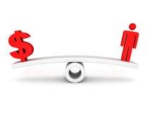 Symbole rouge du dollar et icône humaine sur l'échelle Images libres de droits