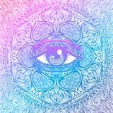 Symbole sacré de la géométrie avec tout l'oeil voyant dans des couleurs acides Mysti illustration de vecteur