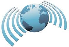 Symbole sans fil de bande large de la terre de wifi du monde Images libres de droits