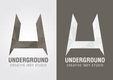 Symbole souterrain d'icône d'U d'une lettre U d'alphabet Photographie stock libre de droits