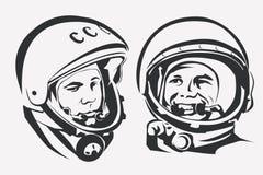 Symbole stylisé de vecteur de Yuri Gagarin d'astronaute