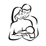 Symbole stylisé de vecteur de famille heureuse Photo stock