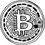 Symbole stylisé peint à la main de pièce de monnaie de bitcoin Illustration Stock