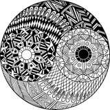 Symbole tiré par la main décoratif de Yin et de yang Illustration de Vecteur