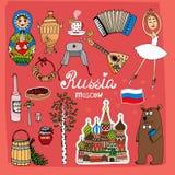 Symbole und Ikonen von Russland Stockbild