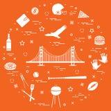 Symbole usa: Golden Gate, zawieszenie most i strzelisty orzeł, royalty ilustracja