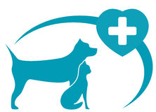 Symbole vétérinaire avec le chien, chat sur le fond blanc Image libre de droits