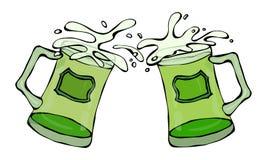 Symbole vert de jour de St Patricks de bière deux verres avec l'éclaboussure de la boisson alcoolisée Main d'illustration de vect illustration de vecteur