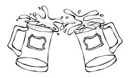 Symbole vert de jour de St Patricks de bière deux verres avec l'éclaboussure de la boisson alcoolisée Vecteur de l'Irlande de jou illustration stock