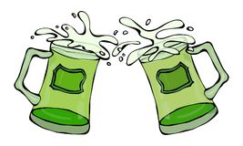 Symbole vert de jour de St Patricks de bière deux verres avec l'éclaboussure de la boisson alcoolisée Vecteur de l'Irlande de jou illustration libre de droits