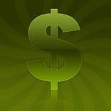 Symbole vert lustré de signe du dollar Photographie stock libre de droits