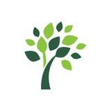 Symbole vert minimaliste de logo d'arbre Image libre de droits