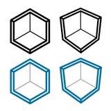 symbole vide isométrique de coin de la pièce 3D Photographie stock libre de droits
