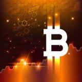 Symbole virtuel du bitcoin de pièce de monnaie Crypto-devise illustration stock