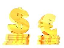 Symbole von Dollar und von Euro 1 Lizenzfreie Stockfotos